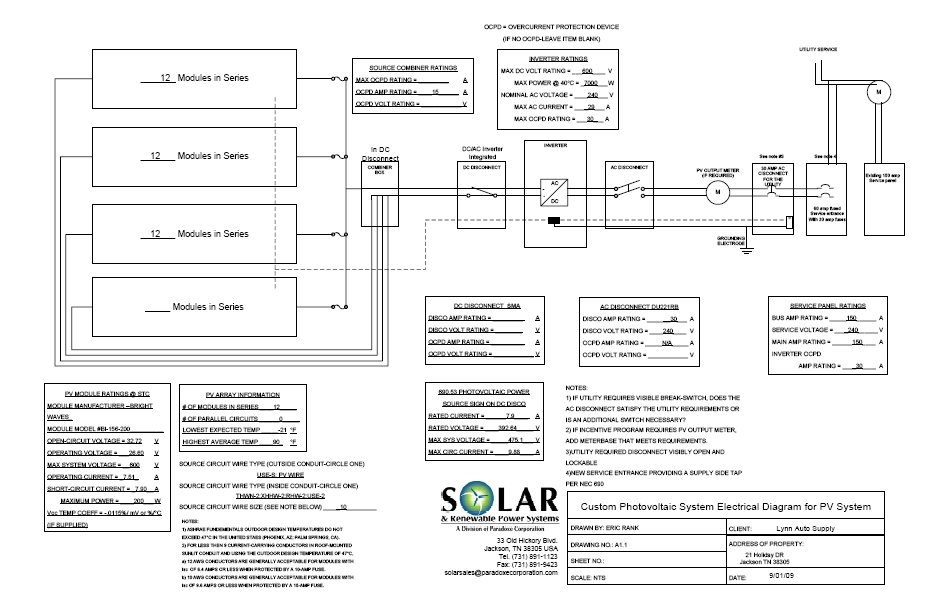 Electrical Schematic Of 7 2 Kwh Grid Tie Solar System